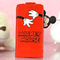 Mickey Mouse Flip leather Case Holster Cover Skin for iPhone 7 - Red