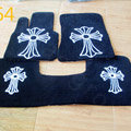 Chrome Hearts Custom Design Carpet Cars Floor Mats Velvet 5pcs Sets For Mercedes Benz C63 AMG - Black