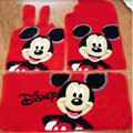 Disney Mickey Tailored Trunk Carpet Cars Floor Mats Velvet 5pcs Sets For BMW 525i - Red
