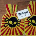 Funky Skull Custom Trunk Carpet Auto Floor Mats Velvet 5pcs Sets For BMW 525i - Yellow