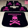 Funky Skull Design Your Own Trunk Carpet Floor Mats Velvet 5pcs Sets For BMW 525i - Pink