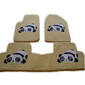 Winter Genuine Sheepskin Panda Cartoon Custom Carpet Car Floor Mats 5pcs Sets For BMW 525Li - Beige