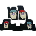 Winter Genuine Sheepskin Pig Cartoon Custom Cute Car Floor Mats 5pcs Sets For BMW 525Li - Black