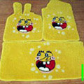 Spongebob Tailored Trunk Carpet Auto Floor Mats Velvet 5pcs Sets For BMW 530i - Yellow