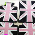 British Flag Tailored Trunk Carpet Cars Flooring Mats Velvet 5pcs Sets For BMW 645Ci - Pink