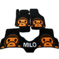 Winter Real Sheepskin Baby Milo Cartoon Custom Cute Car Floor Mats 5pcs Sets For BMW 740Li - Black