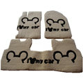 Cute Genuine Sheepskin Mickey Cartoon Custom Carpet Car Floor Mats 5pcs Sets For BMW MINI One - Beige