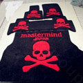 Funky Skull Tailored Trunk Carpet Auto Floor Mats Velvet 5pcs Sets For Honda City - Red