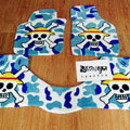 Funky Skull Tailored Trunk Carpet Auto Floor Mats Velvet 5pcs Sets For Honda Life - Blue