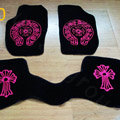 Chrome Hearts Custom Nifty Carpet Cars Floor Mats Velvet 5pcs Sets For Hyundai Moinca - Pink