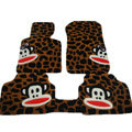 Custom Real Sheepskin Paul Frank Carpet Cars Floor Mats 5pcs Sets For KIA Rio - Brown