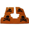 Personalized Real Sheepskin Skull Funky Tailored Carpet Car Floor Mats 5pcs Sets For KIA Rio - Yellow