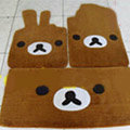 Rilakkuma Tailored Trunk Carpet Cars Floor Mats Velvet 5pcs Sets For KIA Rio - Brown