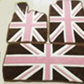 British Flag Tailored Trunk Carpet Cars Flooring Mats Velvet 5pcs Sets For KIA Opirus - Brown