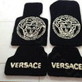 Versace Tailored Trunk Carpet Cars Flooring Mats Velvet 5pcs Sets For KIA Opirus - Black