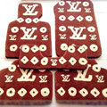 LV Louis Vuitton Custom Trunk Carpet Cars Floor Mats Velvet 5pcs Sets For Mitsubishi PajeroV77 - Brown