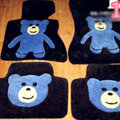 Cartoon Bear Tailored Trunk Carpet Cars Floor Mats Velvet 5pcs Sets For Peugeot 208 - Black