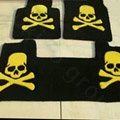 Funky Skull Tailored Trunk Carpet Auto Floor Mats Velvet 5pcs Sets For Peugeot 208 - Black