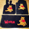Winnie the Pooh Tailored Trunk Carpet Cars Floor Mats Velvet 5pcs Sets For Peugeot 208 - Black