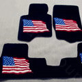 USA Flag Tailored Trunk Carpet Cars Flooring Mats Velvet 5pcs Sets For Peugeot 307 - Black