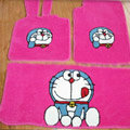 Doraemon Tailored Trunk Carpet Cars Floor Mats Velvet 5pcs Sets For Peugeot 407 - Pink