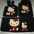 Hello Kitty Tailored Trunk Carpet Cars Floor Mats Velvet 5pcs Sets For Peugeot HR1 - Black