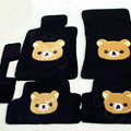 Rilakkuma Tailored Trunk Carpet Cars Floor Mats Velvet 5pcs Sets For Peugeot HX1 - Black