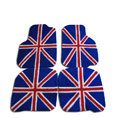 Custom Real Sheepskin British Flag Carpeted Automobile Floor Matting 5pcs Sets For Peugeot iOn - Blue
