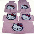 Hello Kitty Tailored Trunk Carpet Cars Floor Mats Velvet 5pcs Sets For Skoda Fabia - Pink