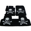 Personalized Real Sheepskin Skull Funky Tailored Carpet Car Floor Mats 5pcs Sets For Skoda Roomster - Black