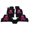 Personalized Real Sheepskin Skull Funky Tailored Carpet Car Floor Mats 5pcs Sets For Skoda Roomster - Pink