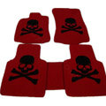 Personalized Real Sheepskin Skull Funky Tailored Carpet Car Floor Mats 5pcs Sets For Skoda Roomster - Red