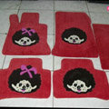 Monchhichi Tailored Trunk Carpet Cars Flooring Mats Velvet 5pcs Sets For Skoda VisionD - Red