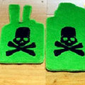 Funky Skull Tailored Trunk Carpet Auto Floor Mats Velvet 5pcs Sets For Toyota Prous - Green