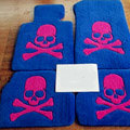 Cool Skull Tailored Trunk Carpet Auto Floor Mats Velvet 5pcs Sets For Toyota Yaris - Blue