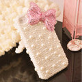Bling Bowknot Crystal Cases Rhinestone Pearls Covers for iPhone 6S Plus - Pink