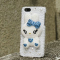 Bling Rabbit Crystal Cases Rhinestone Pearls Covers for iPhone 6S Plus - Blue