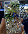 Bling Swarovski crystal cases Flower diamond cover skin for iPhone 6S Plus - Green