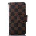 Cheapest LV Louis Vuitton Lattice Leather Flip Cases Holster Covers For iPhone 6S Plus - Brown
