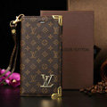Classic LV Louis Vuitton Flower Leather Flip Cases Holster Covers For iPhone 6S Plus - Brown