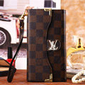 Classic LV Plaid High Quality Leather Flip Cases Holster Covers for iPhone 6S Plus - Brown