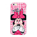 Genuine Cute Glasses Minnie Mouse Covers Plastic Back Cases Cartoon Matte for iPhone 6S Plus 5.5 - Pink