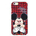 Genuine Cute Glasses Minnie Mouse Covers Plastic Back Cases Cartoon Matte for iPhone 6S Plus 5.5 - Red