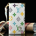 High Quality LV Louis Vuitton Flower Leather Flip Cases Holster Covers For iPhone 6S Plus - White