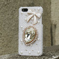 Bling Bowknot Crystal Cases Rhinestone Pearls Covers for iPhone 7 Plus - White