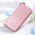 Classic LV folder Leather Cases Book Flip Holster Cover for iPhone 7 Plus - Pink