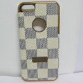 LV LOUIS VUITTON leather Cases Luxury Hard Back Covers Skin for iPhone 7 Plus - Beige