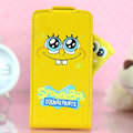 SpongeBob Flip leather Case Holster Cover Skin for iPhone 7 Plus - Yellow