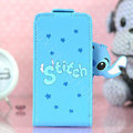 Stitch Flip leather Case Holster Cover Skin for iPhone 7 Plus - Blue