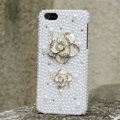 Bling Flower Crystal Cases Rhinestone Pearls Covers for iPhone 7S - White